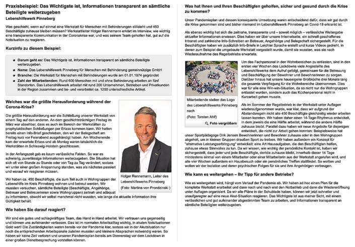 Artikel der BGW über das Lebenshilfewerk Pinneberg