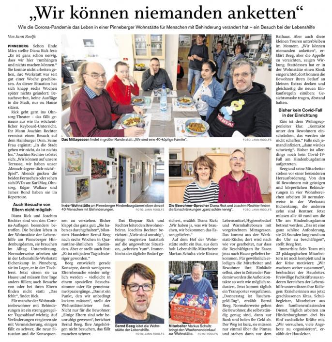 """Artikel in der Barmstedter Zeitung vom 12.05.2020: """"Wir können niemanden anketten"""" über die aktuelle Lage in der Pinneberger Wohnstätte für Menschen mit Behinderung"""