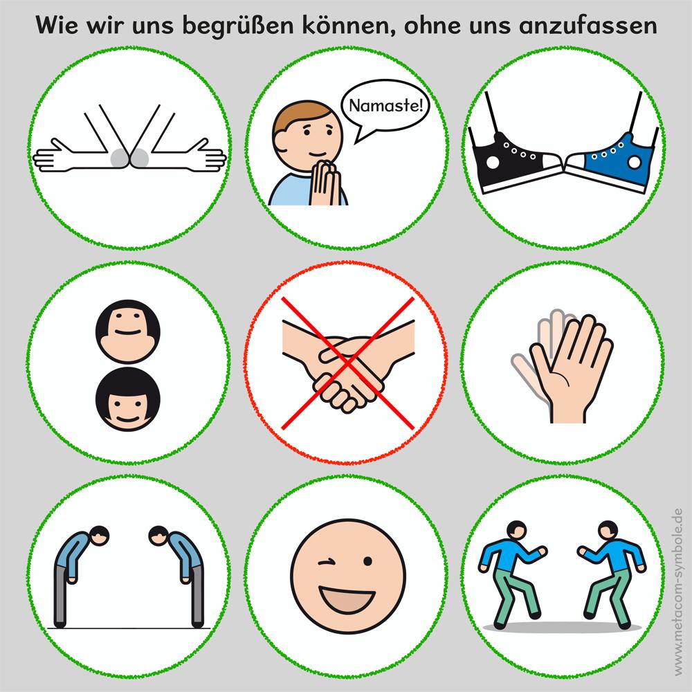 Ein Plakat mit 9 Ideen, wie wir uns begrüßen können, ohne uns azunfassen
