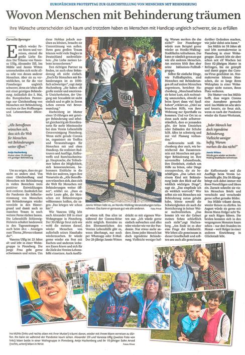 Elmshorner Nachrichten vom 05.05.2021: Wovon Menschen mit Behinderung träumen