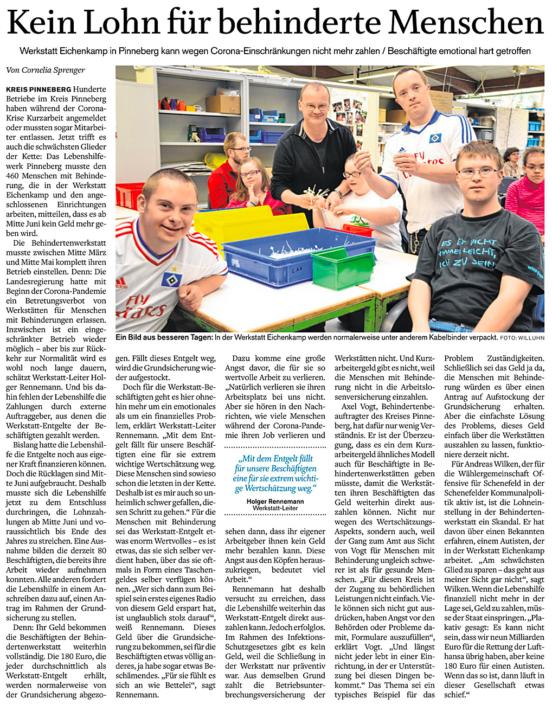 """Elmshorner Nachrichten vom 15.6.2020: """"Kein Lohn für behinderte Menschen"""""""