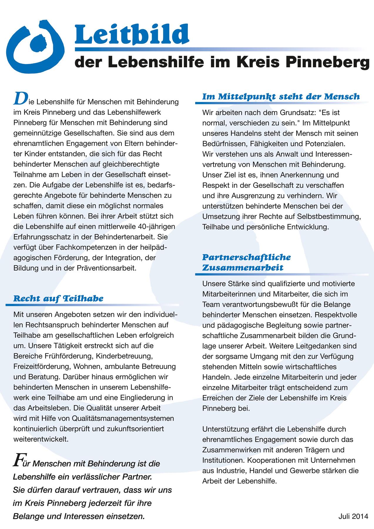 Leitbild der Lebenshilfe im Kreis Pinneberg