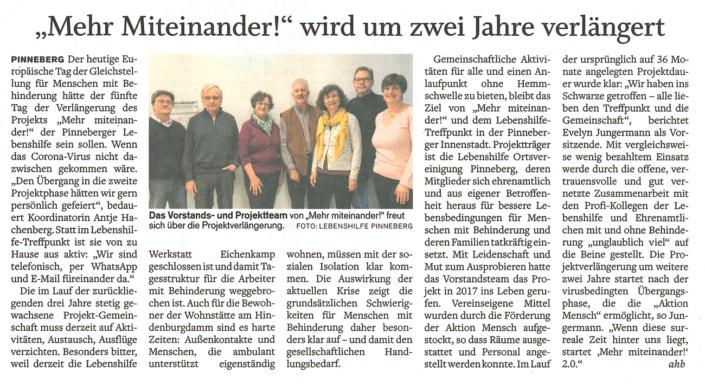 """Artikel im Pinneberger Tageblatt vom 05.05.2020 mit dem Titel: """"Mehr miteinader! """" wird um zwei Jahre verlängert"""