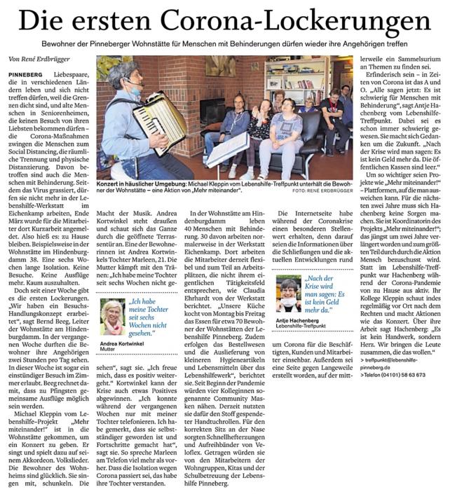 Pinneberger Tageblatt vom 19.5.2020: Die ersten Corona-Lockerungen über Bewohner der Pinneberger Wohnstätte, die ihre Angehörigen wieder treffen dürfen