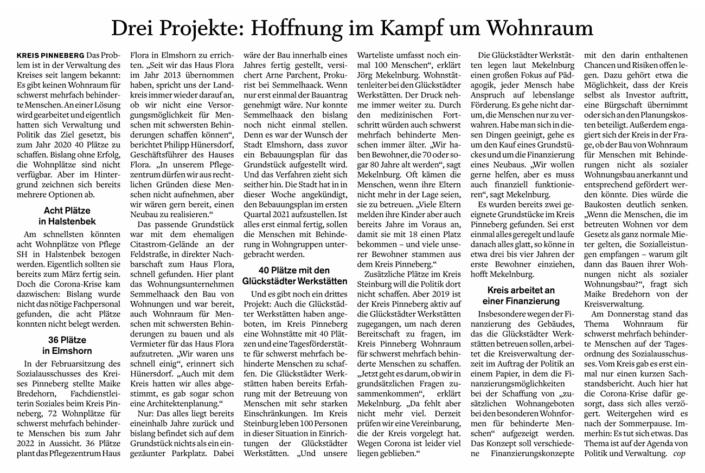 Artikel im Pinneberger Tageblatt vom 8.6.2020: Drei Projekte: Hoffnung im Kampf um Wohnraum