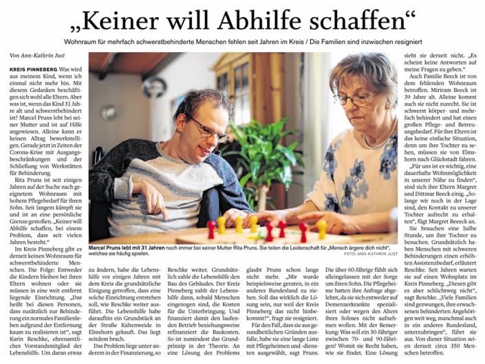 Artikel aus dem Pinneberger Tageblatt vom 8.6.2020 über fehlenden Wohnraum für mehrfach Schwerstbehinderte Menschen im Kreis Pinneberg