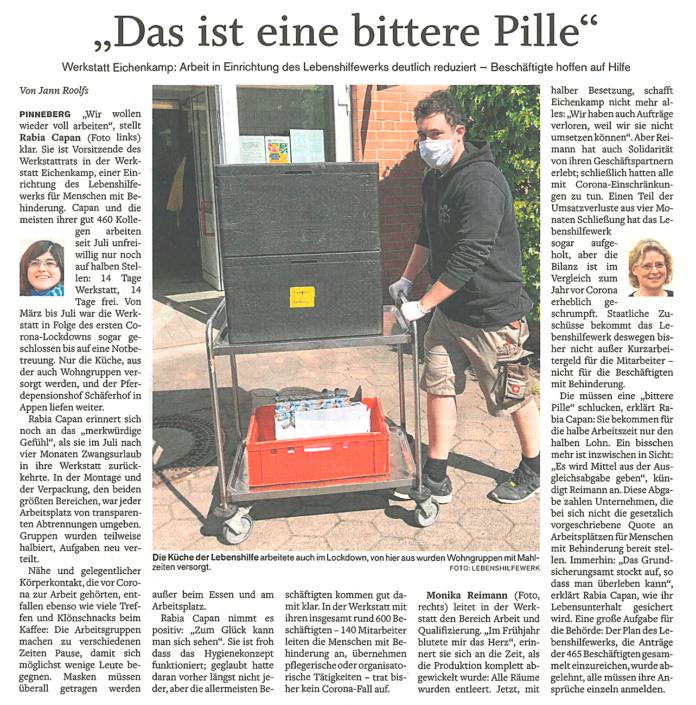 """Artikel im Pinneberger Tageblatt vom 12.1.2021 """"Das ist eine bittere Pille"""" über die reduzierte Arbeit im Lebenshilfewerk Pinneberg"""