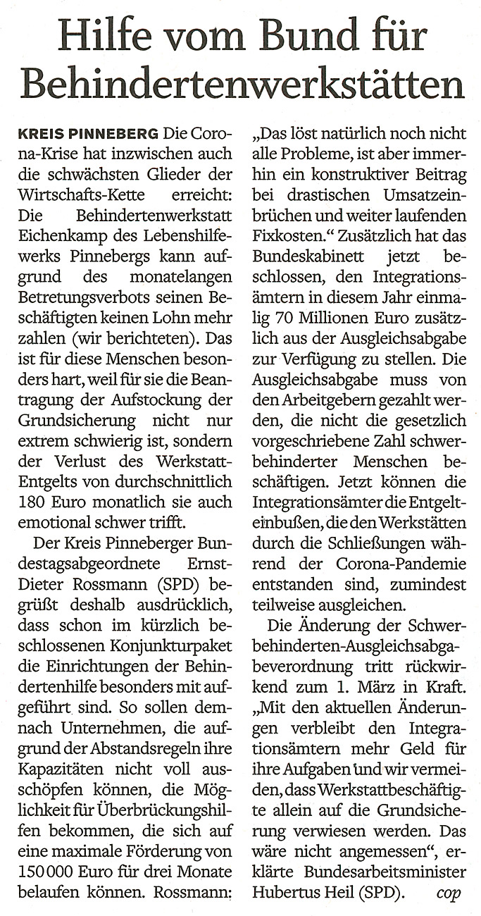 Artikel im Pinneberger Tageblatt vom 22.6.2020: Hilfen vom Bund für Behindertenwerkstätten