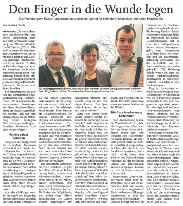"""Pinneberger Tageblatt vom 30.03.2020 mit dem Titel: """"Den Finger in die Wunde legen."""" über Evelyn Jungermann, die sich seit Jahren für behinderte Menschen und deren Familien einsetzt und dafür das Bundesverdienstkreuz bekommen hat."""